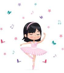adesivo de parede bailarina asiã¡tica para quarto de menina - rosa - menina - dafiti
