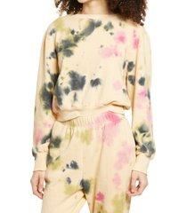 women's afrm angela tie dye sweatshirt, size x-small - beige