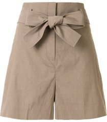 theory belted flared shorts - brown