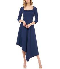 women's kay unger arianna asymmetrical hem midi dress