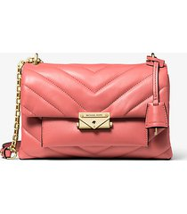 mk borsa a spalla convertibile cece media in pelle trapuntata - pompelmo rosa (rosa) - michael kors
