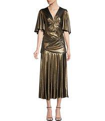 gathered pleated metallic midi dress