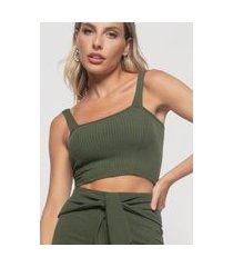 cropped salvatore top faixa comfy malha canelada verde