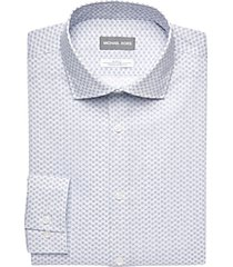 michael kors navy geometric dot slim fit dress shirt
