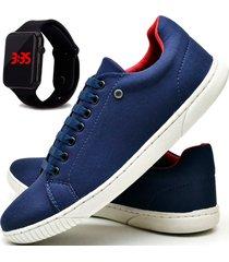 tênis sapatênis casual asgard com carteira e relógio led db 940lbm azul