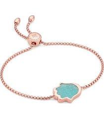 rose gold atlantis hamsa friendship chain bracelet amazonite
