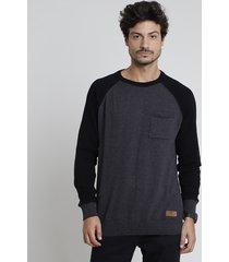 suéter masculino em tricô com bolso raglan cinza escuro