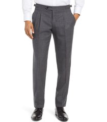men's ted baker london roy extra trim fit pleated wool trousers, size 36r - grey