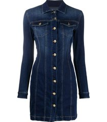 elisabetta franchi denim shirt dress - blue