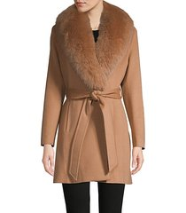 fox fur-collar wool & cashmere belted coat