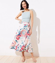 loft floral wrap midi skirt