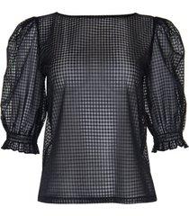 blouse lisca transparante top met driekwart mouwen limitless cheek