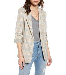 women's treasure & bond menswear plaid blazer, size xx-large - grey