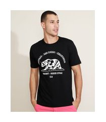 "camiseta masculina trestles - san diego - califórnia"" manga curta gola careca preta"""