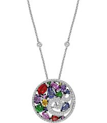 effy women's watercolors 14k white gold & multi-stone pendant necklace