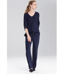 terry lounge top pajamas, women's, blue, size xl, n natori