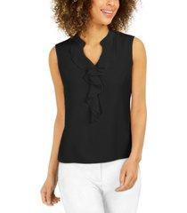 nine west ruffle-front blouse