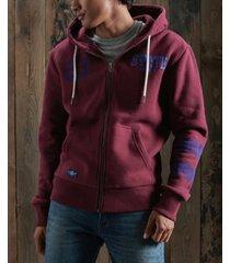 superdry men's track field classic zip hoodie