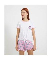 pijama blusa manga curta e short estampa poodle | lov | branco | m