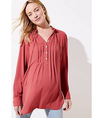 loft maternity pintucked tie neck tunic blouse