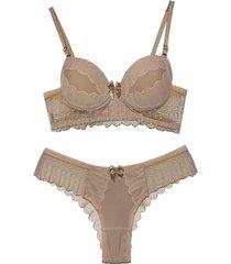 conjunto lingerie vip lingerie microfibra e renda francesa bege