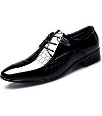 scarpe eleganti classiche da uomo in pelle verniciata a punta