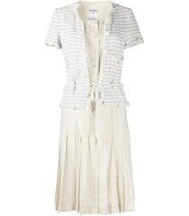 chanel pre-owned 2005 layered tweed dress - white