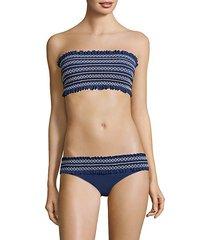 smocked costa bandeau bikini top