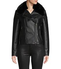 bailey 44 women's faux fur-trim faux leather jacket - black - size m