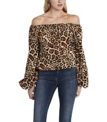 women's off shoulder animal print balloon sleeve blouse