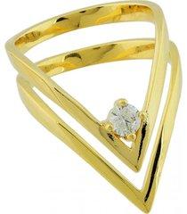 anel dona diva semi joias duplo v dourado