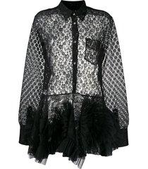 viktor & rolf laced up swirl dress - black