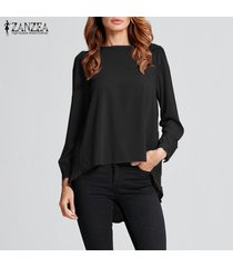 zanzea camiseta de gasa de manga larga para mujer camiseta plisada suelta blusa de túnica de talla grande -negro