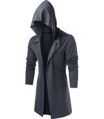 hooded open front heathered cardigan