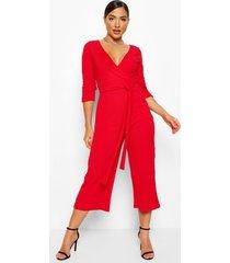 culotte wikkel jumpsuit met ceintuur, rood
