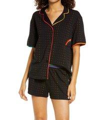 women's room service pjs rainbow short pajamas, size xx-large - black (nordstrom exclusive)