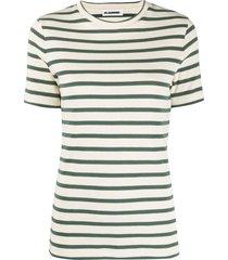 jil sander horizontal-stripe short-sleeve top - neutrals