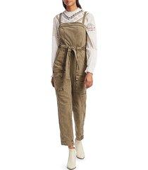 free people women's go west utility jumpsuit - army sage - size l