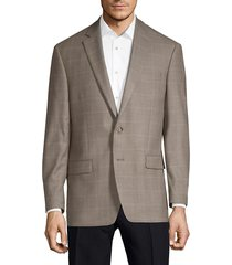 lauren ralph lauren men's classic fit silk wool windowpane sport jacket - tan - size 38 s