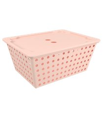 cesta one maxi com tampa 39 x 30 x 16,8 cm rosa blush coza rosa