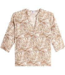 blusa mujer hojas largas color blanco, talla l