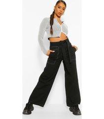 culottes met contrasterende stiksels en knoopceintuur, zwart