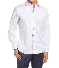 david donahue trim fit dress shirt, size 18 in white/merlot at nordstrom