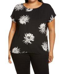 plus size women's halogen cap sleeve blouse, size 1x - black