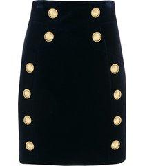balmain velvet effect short skirt - blue