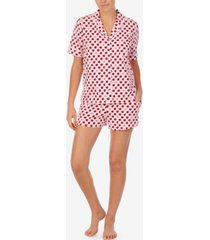 dkny sleepwear printed notched-collar top & shorts pajama set