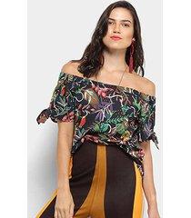blusa cantão ombro a ombro jane floral feminina