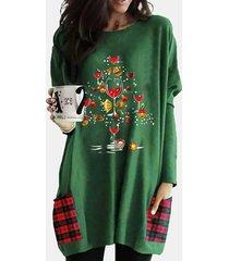 patchwork manica lunga o-collo con stampa natalizia plus camicetta con tasche