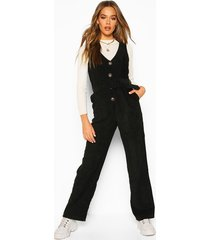 cord pinafore belted jumpsuit, black