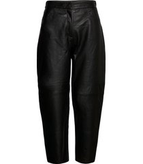 slfagnes mw cropped leather pant b leather leggings/broek zwart selected femme